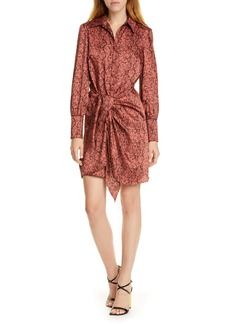 Cinq a Sept Cinq à Sept Gaby Python Print Long Sleeve Shirtdress