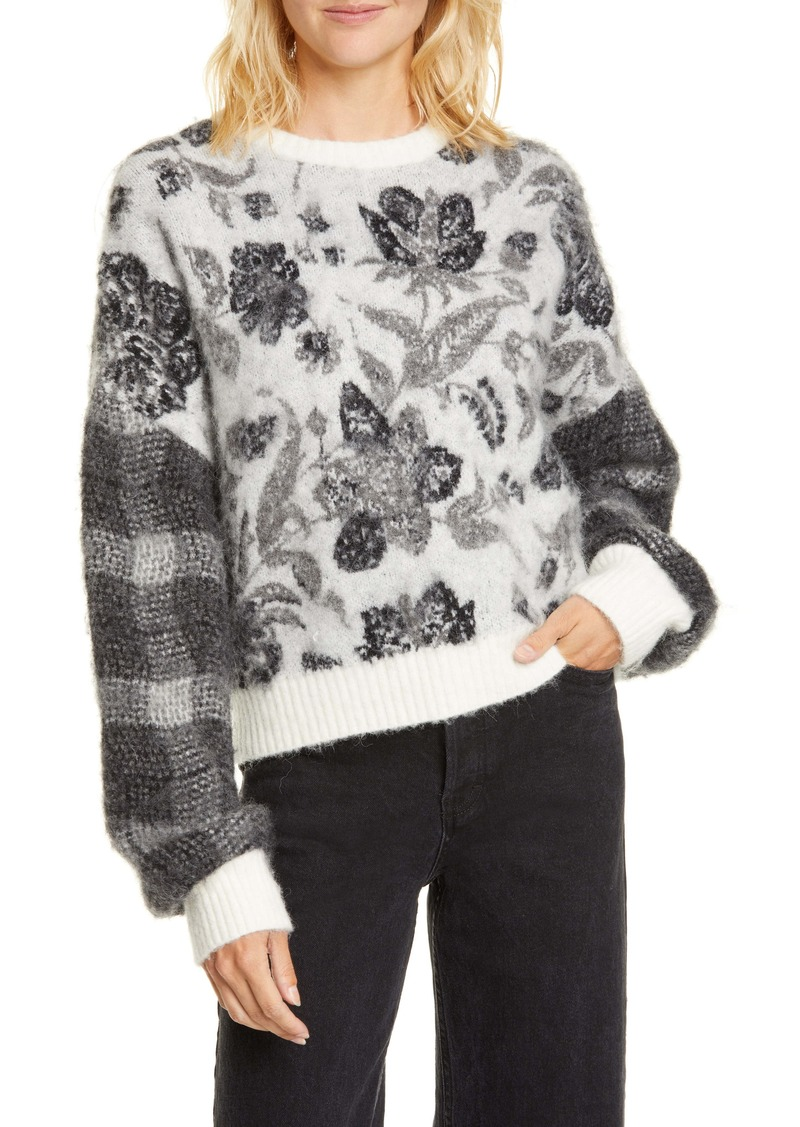 Cinq a Sept Cinq à Sept Genevieve Floral & Plaid Wool & Alpaca Blend Sweater