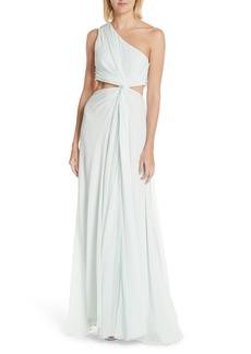 Cinq a Sept Cinq à Sept Goldie One-Shoulder Silk Gown
