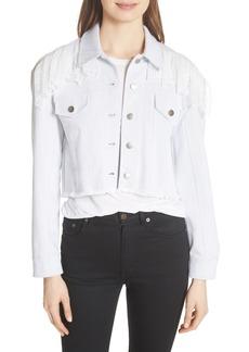 Cinq a Sept Cinq à Sept Ismay Lace Shoulder Crop Denim Jacket