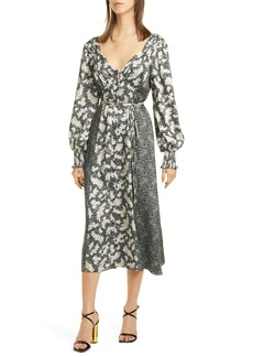 Cinq a Sept Cinq à Sept Jessica Mixed Print Long Sleeve Midi Dress