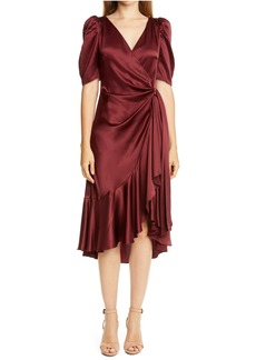 Cinq a Sept Cinq á Sept Lisa Silk Satin Midi Dress