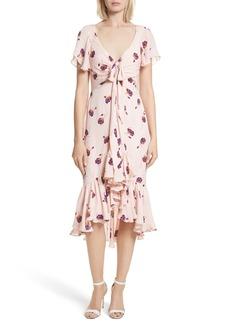 Cinq a Sept Cinq à Sept Mateo Ruffle Trim Silk Dress