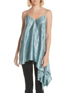 Cinq a Sept Cinq à Sept Romeo Embroidered Asymmetrical Silk Blouse