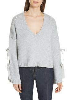 Cinq a Sept Cinq à Sept Sidel Tie Sleeve Wool Blend Sweater