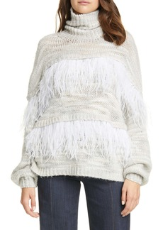 Cinq a Sept Cinq à Sept Valentina Feather Trim Sweater