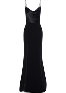 Cinq a Sept Cinq À Sept Woman Ana Silk Charmeuse-paneled Crepe Gown Black