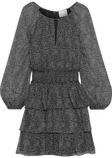 Cinq a Sept Cinq À Sept Woman Annabel Tiered Printed Silk-georgette Mini Dress Black