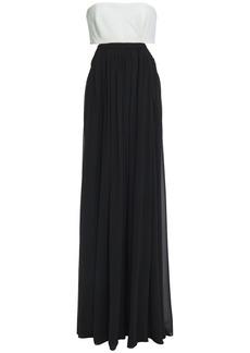 Cinq a Sept Cinq À Sept Woman Aries Strapless Cutout Crepe-paneled Georgette Gown Black