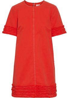 Cinq a Sept Cinq À Sept Woman Ashton Frayed Stretch-cotton Twill Mini Dress Papaya