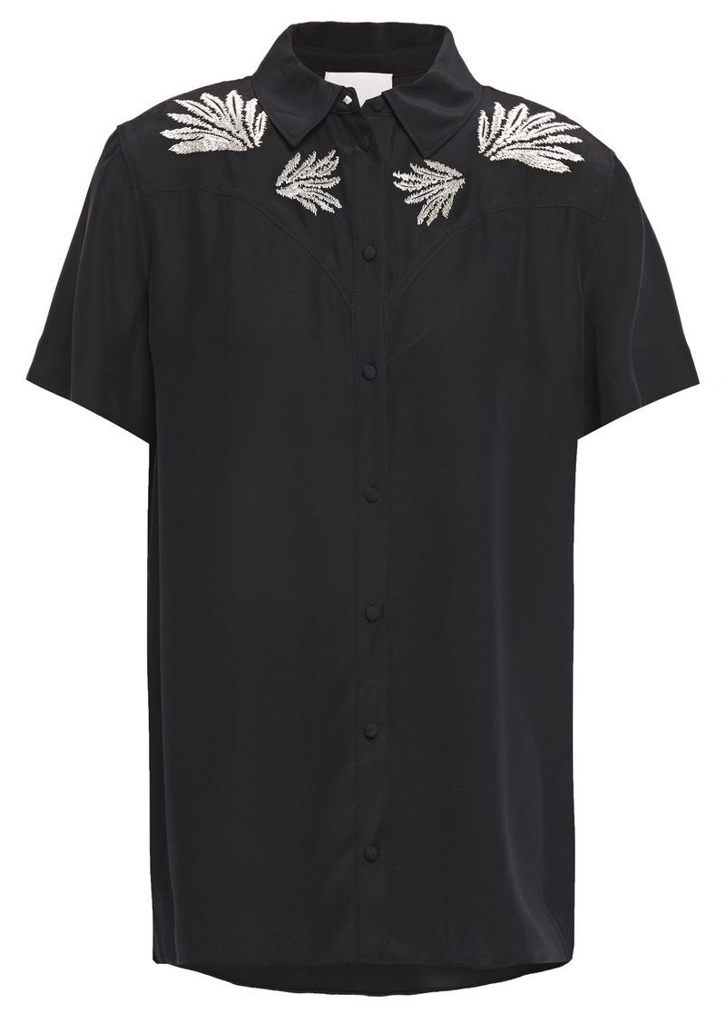 Cinq a Sept Cinq À Sept Woman Bridget Embroidered Silk Crepe De Chine Shirt Black
