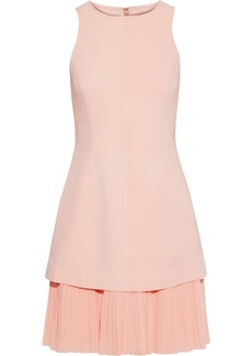 Cinq a Sept Cinq À Sept Woman Catriona Layered Pleated Georgette And Cady Mini Dress Blush