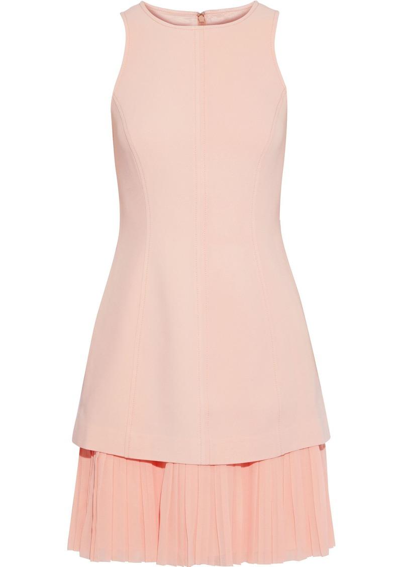 Cinq a Sept Cinq À Sept Woman Layered Pleated Georgette-paneled Crepe Mini Dress Blush