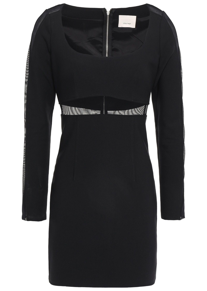 Cinq a Sept Cinq À Sept Woman Celia Mesh-trimmed Ponte Mini Dress Black