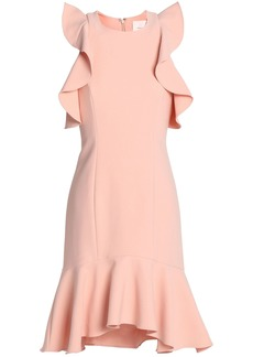 Cinq a Sept Cinq À Sept Woman Cold-shoulder Ruffle-trimmed Crepe Mini Dress Pastel Pink