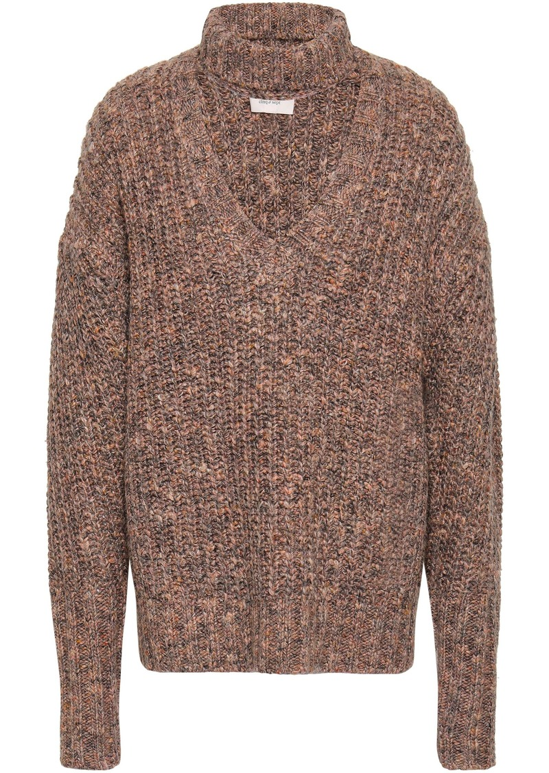 Cinq a Sept Cinq À Sept Woman Cutout Marled Knitted Sweater Sand