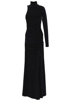 Cinq a Sept Cinq À Sept Woman Cutout Ruched Stretch-jersey Turtleneck Gown Black
