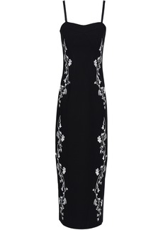 Cinq a Sept Cinq À Sept Woman Embroidered Ponte Midi Dress Black