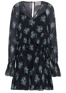 Cinq a Sept Cinq À Sept Woman Farris Ruffled Floral-print Silk-georgette Mini Dress Midnight Blue