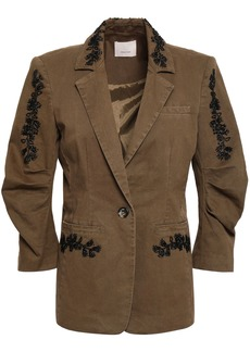 Cinq a Sept Cinq À Sept Woman Gathered Embellished Cotton-blend Twill Blazer Army Green