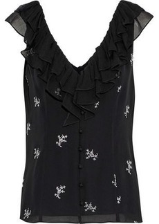 Cinq a Sept Cinq À Sept Woman Gia Ruffle-trimmed Embroidered Silk-georgette Top Black