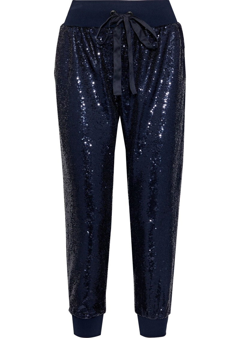 Cinq a Sept Cinq À Sept Woman Giles Cropped Sequined Jersey Track Pants Navy
