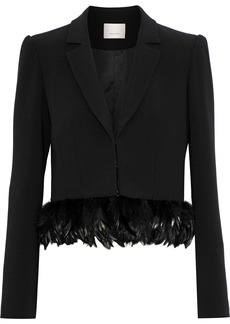 Cinq a Sept Cinq À Sept Woman Helen Cropped Feather-trimmed Crepe Blazer Black