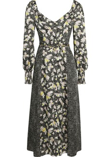 Cinq a Sept Cinq À Sept Woman Jessica Paneled Printed Satin-twill Midi Dress Black