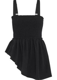 Cinq a Sept Cinq À Sept Woman Kaira Asymmetric Shirred Crepe Top Black