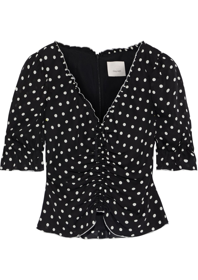Cinq a Sept Cinq À Sept Woman Kimberly Cropped Ruched Polka-dot Silk-georgette Blouse Black