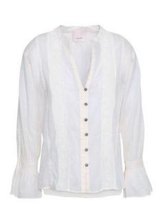 Cinq a Sept Cinq À Sept Woman Lace-trimmed Cotton-gauze Shirt Ivory