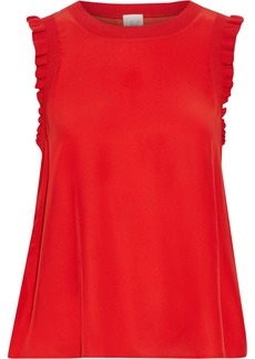 Cinq a Sept Cinq À Sept Woman Lenore Ruffle-trimmed Silk Crepe De Chine Top Red