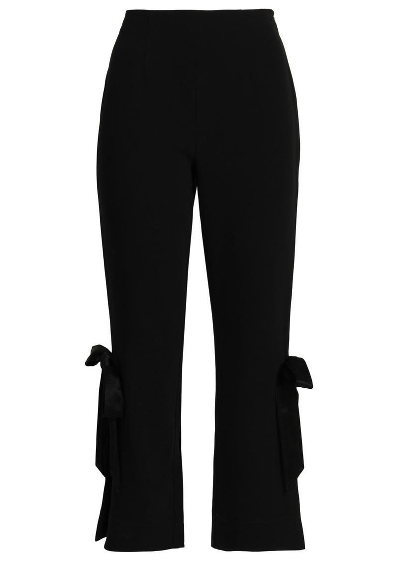 Cinq a Sept Cinq À Sept Woman Lou Bow-embellished Stretch-crepe Straight-leg Pants Black