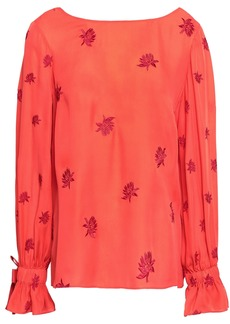 Cinq a Sept Cinq À Sept Woman Lyla Embroidered Silk Crepe De Chine Blouse Coral