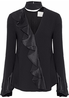 Cinq a Sept Cinq À Sept Woman Mariah Ruffled Satin-trimmed Cutout Crepe Top Black