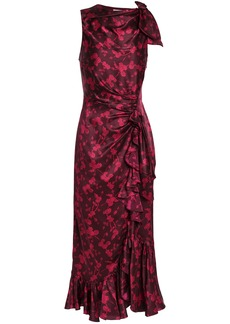 Cinq a Sept Cinq À Sept Woman Nannon Bow-embellished Gathered Floral-print Silk-satin Midi Dress Plum