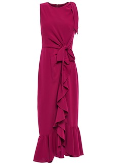 Cinq a Sept Cinq À Sept Woman Nanon Bow-detailed Ruffled Crepe Midi Dress Magenta