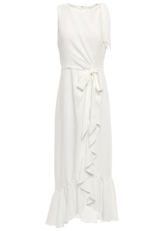Cinq a Sept Cinq À Sept Woman Nanon Bow-detailed Ruffled Crepe Midi Dress Ivory