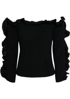 Cinq a Sept Cinq À Sept Woman Off-the-shoulder Ruffle-trimmed Crepe Top Black