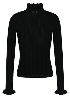 Cinq a Sept Cinq À Sept Woman Pointelle-trimmed Knitted Sweater Black