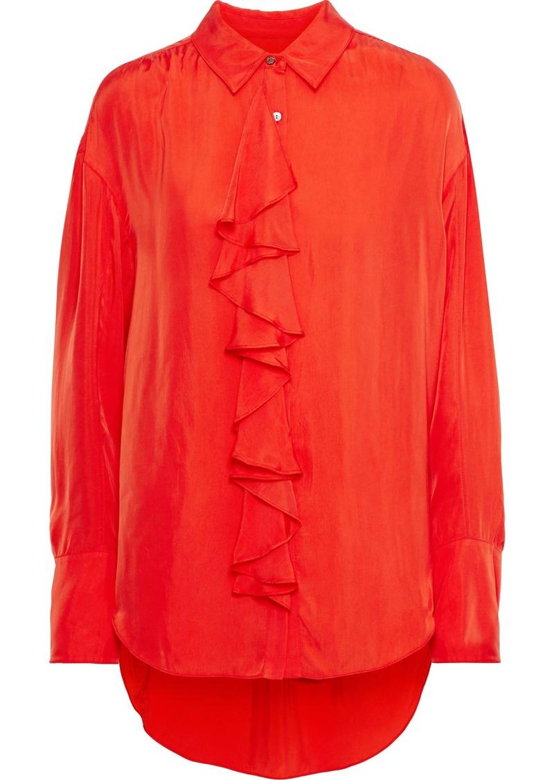 Cinq a Sept Cinq À Sept Woman Rosalie Ruffled Twill Shirt Tomato Red