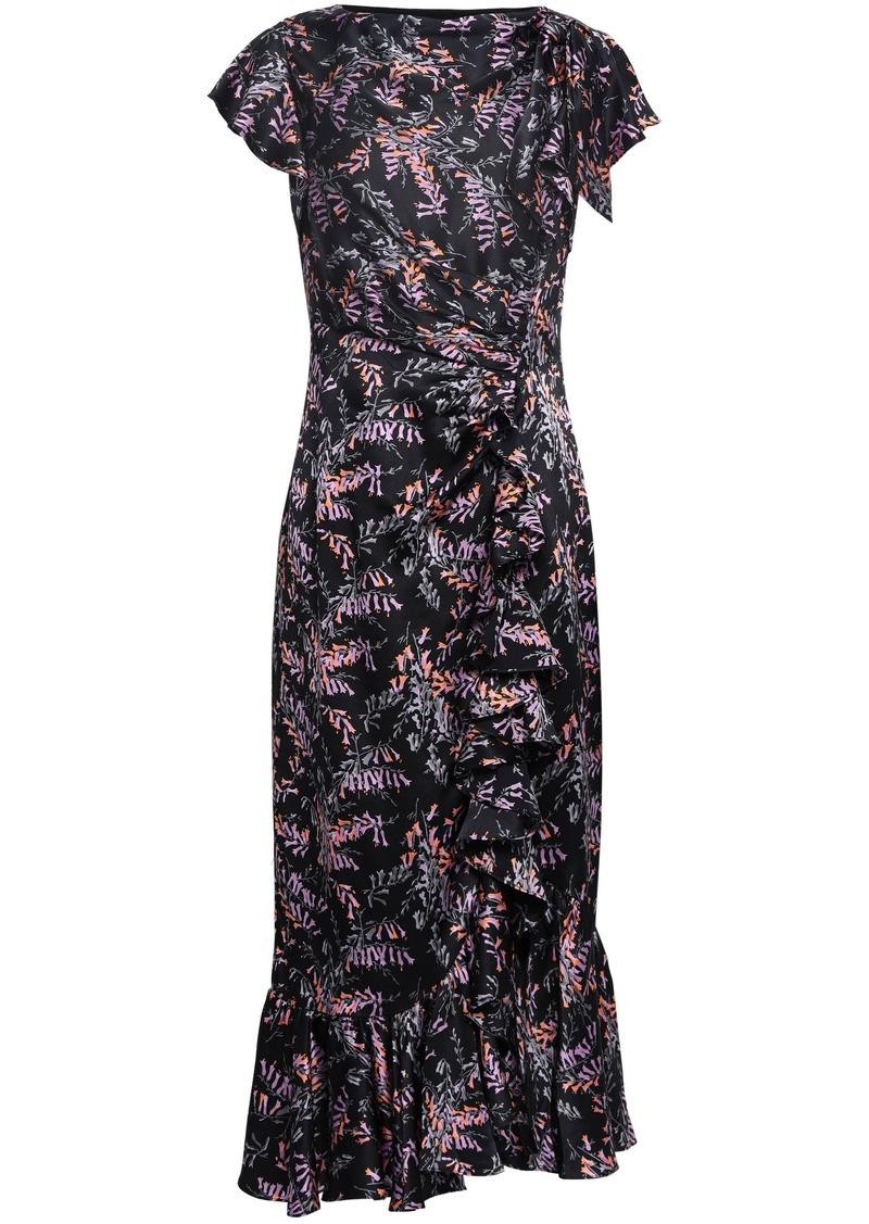 Cinq a Sept Cinq À Sept Woman Ruched Floral-print Silk-satin Midi Dress Black