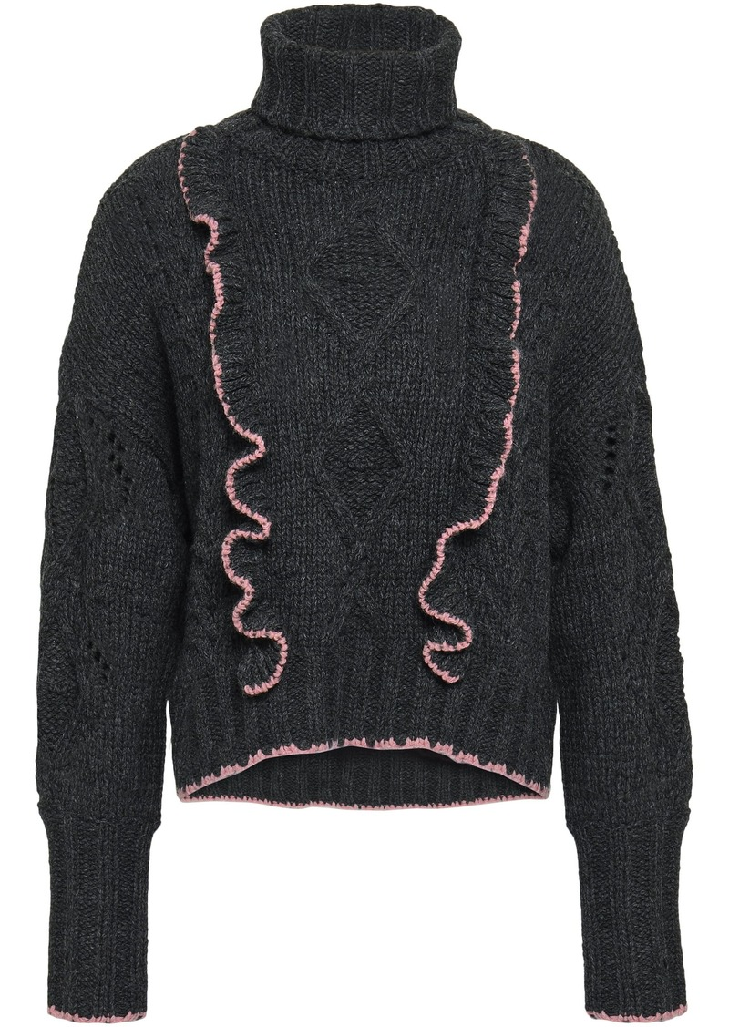 Cinq a Sept Cinq À Sept Woman Ruffle-trimmed Cable-knit Turtleneck Sweater Charcoal