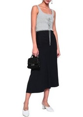 Cinq a Sept Cinq À Sept Woman Sabine Lace-up Shirred Cotton-blend Jersey Tank Light Gray