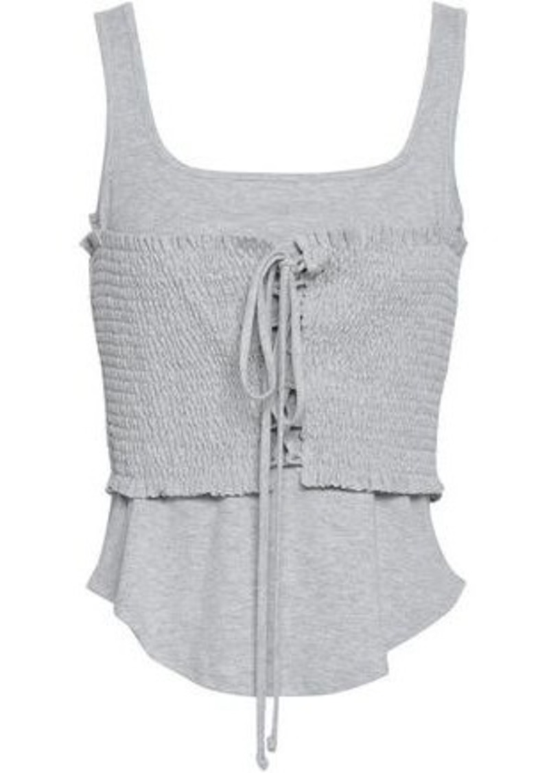 Cinq À Sept Woman Sabine Lace-up Shirred Cotton-blend Jersey Tank Light Gray