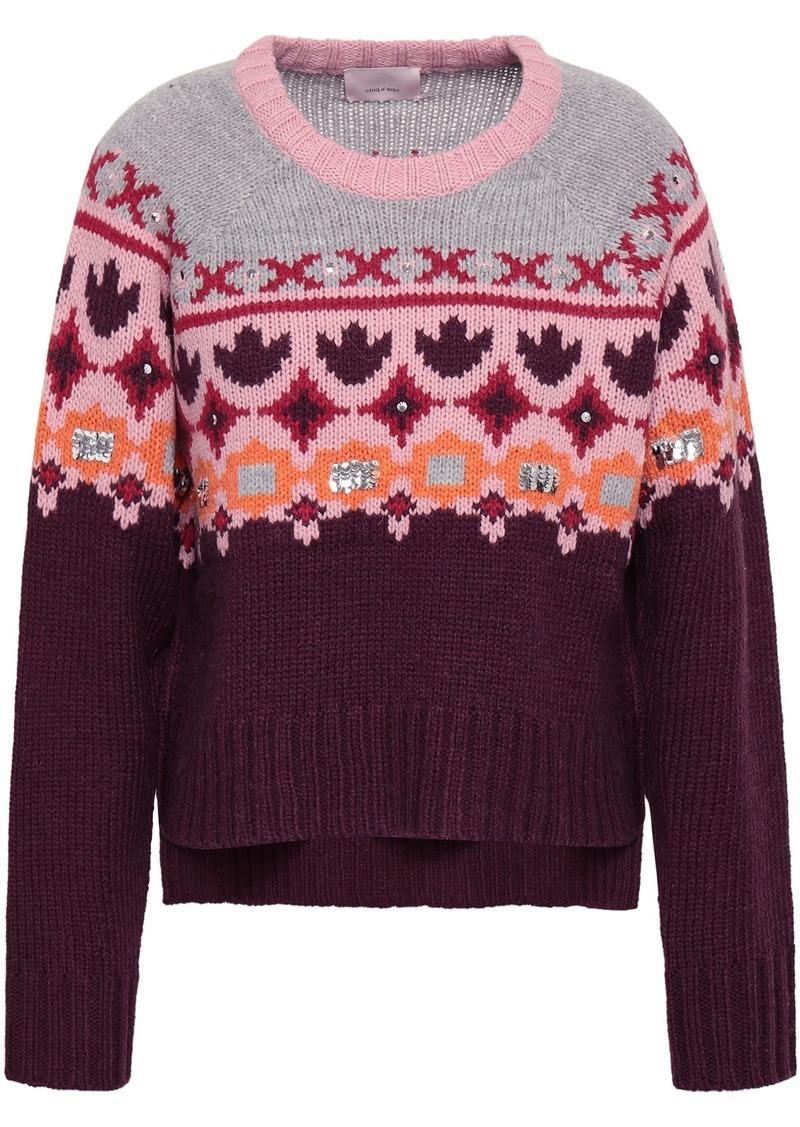 Cinq a Sept Cinq À Sept Woman Sequin-embellished Jacquard-knit Sweater Multicolor