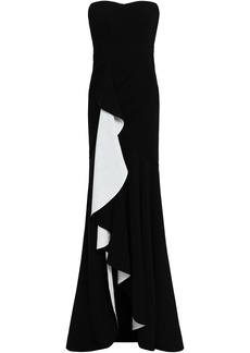 Cinq a Sept Cinq À Sept Woman Strapless Draped Two-tone Stretch-crepe Gown Black