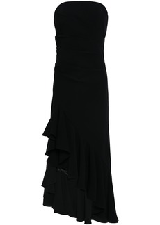 Cinq a Sept Cinq À Sept Woman Strapless Ruffled Stretch-crepe Midi Dress Black