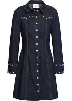 Cinq a Sept Cinq À Sept Woman Studded Denim Mini Dress Dark Denim