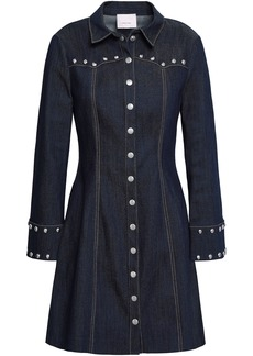 Cinq a Sept Cinq À Sept Woman Studded Denim Mini Dress Dark Denim